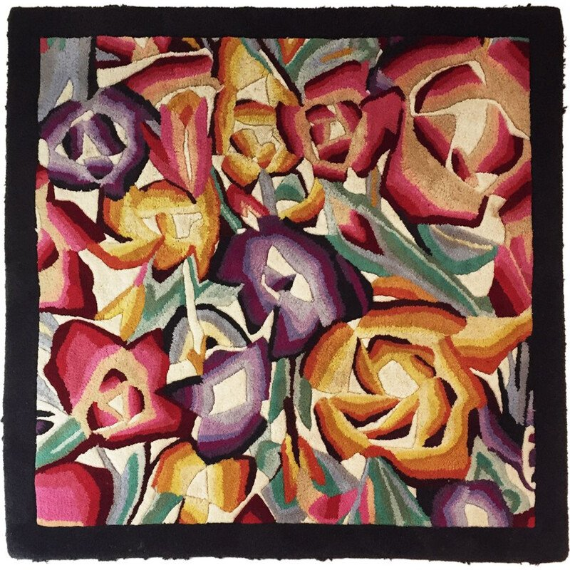 Vintage flowers square rug by Missoni Home 1990