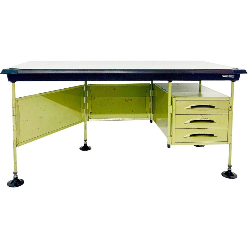 Spazio green vintage desk by Studio BBPR for Olivetti 1959