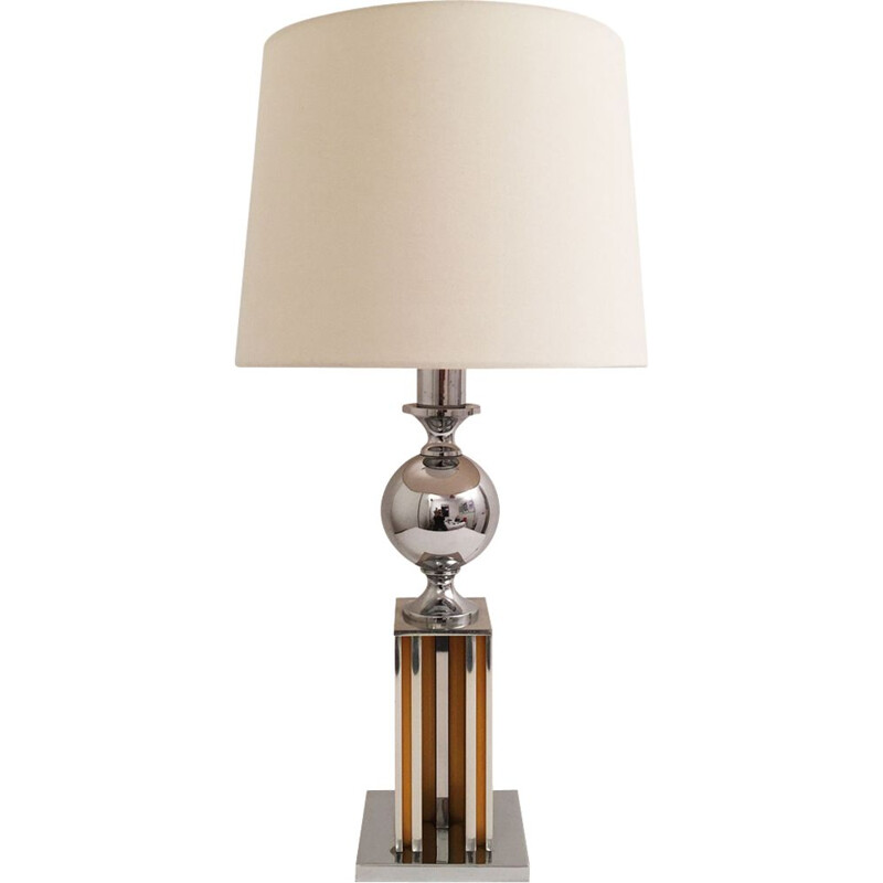 Vintage chrome table lamp Maison Barbier 1960