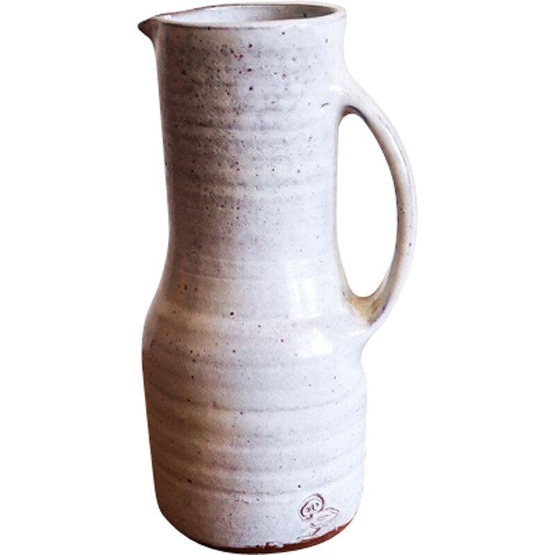 Vintage ceramic pitcher by Jeanne and Norbert Pierlot 1950
