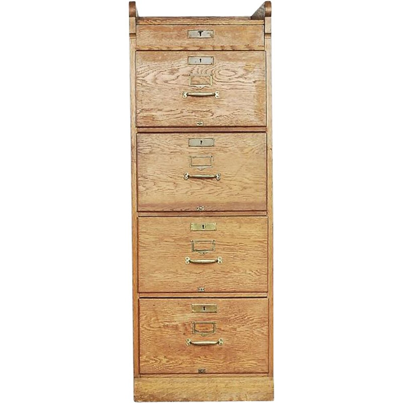 Vintage industrial oak chest of drawers 1930s