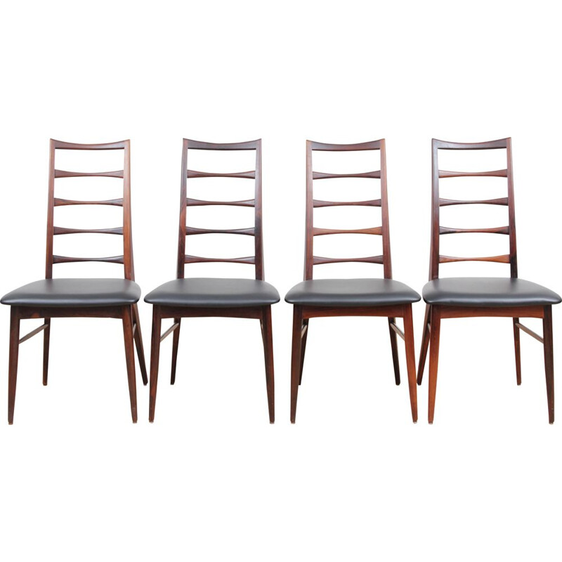 Set of 4 vintage chairs in rosewood model Lis by Niels Koefoed