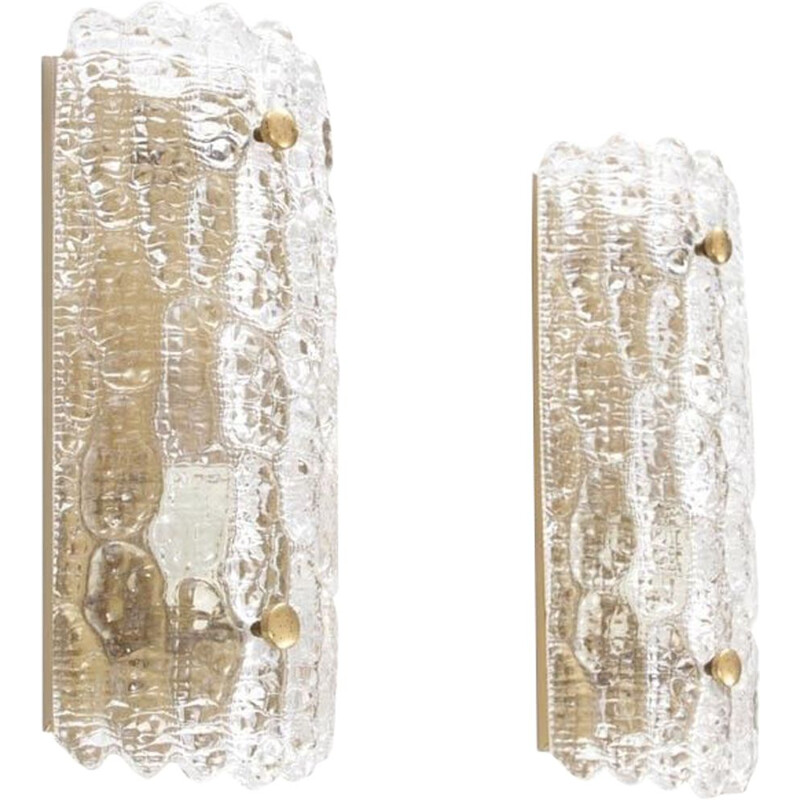Pair of vintage scandinavian sconces for Orrefors in crystal 1950