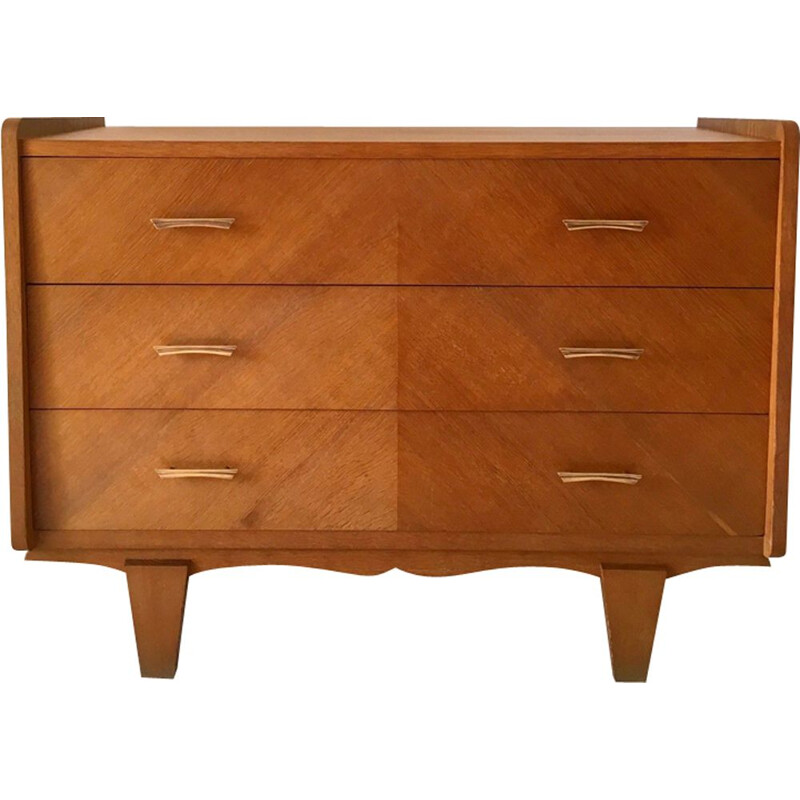 French vintage chest of drawers in oak and brass 1950