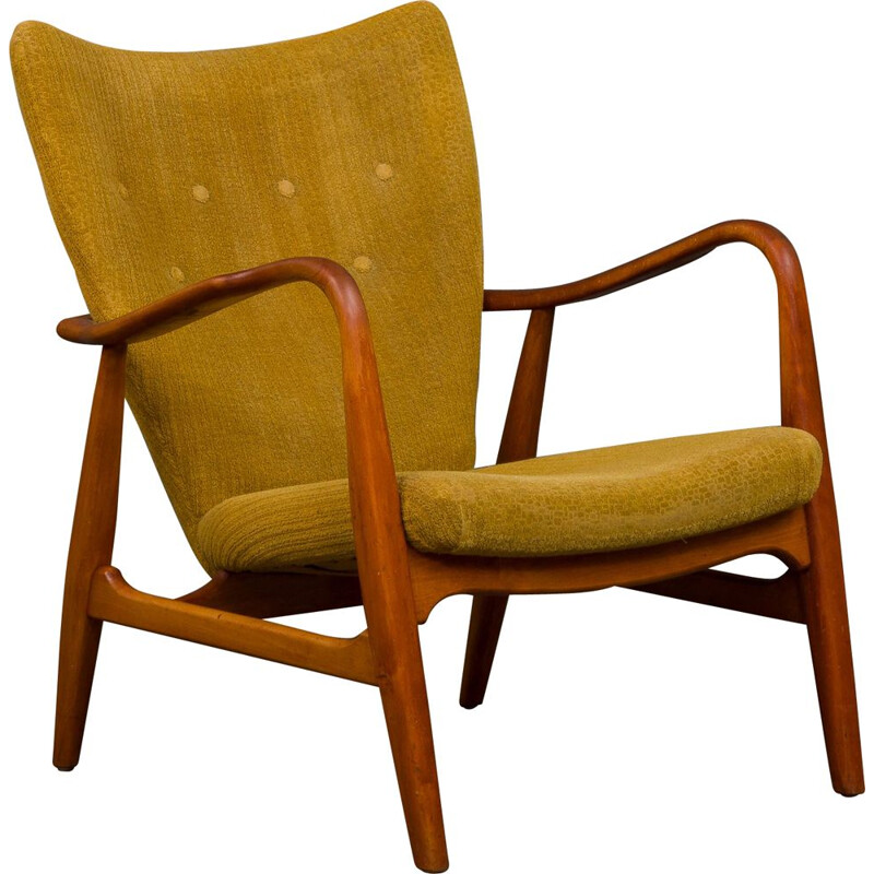 Vintage yellow armchair for Schubell & Madsen in beechwood 1950s