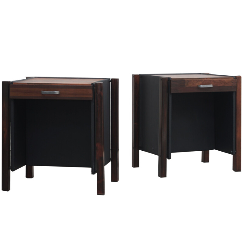 Pair of rosewood bedside tables by Jorge Zalszupin 1960s
