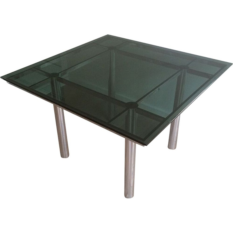 Vintage Scarpa table in silver steel and glass 1970