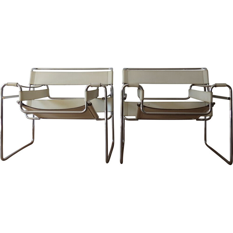 Pair of vintage B3 armchairs for Gavina in white leather and metal 1960s