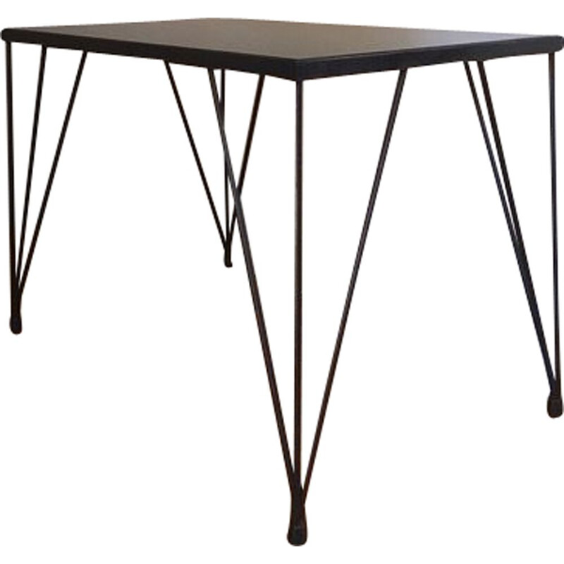 Vintage eiffel foot coffee table in black metal and glass 1960