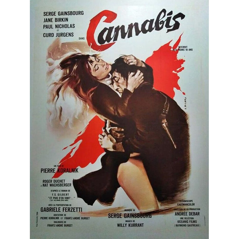 Vintage poster of Serge Gainsbourg and Jane Birkin 1970