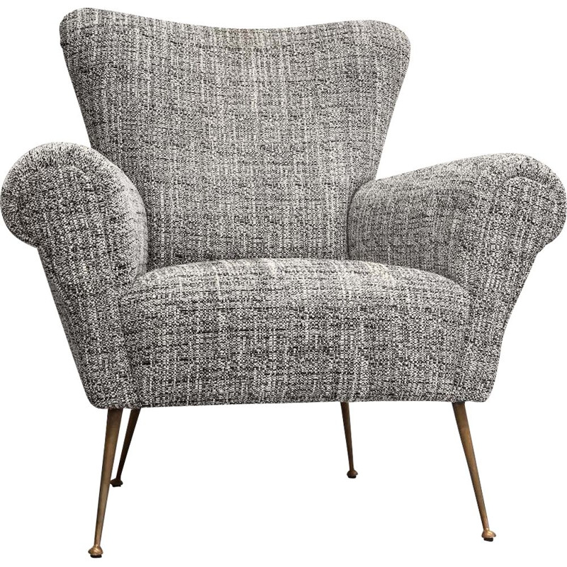Pair of vintage italian armchairs in grey fabric and brass 1950