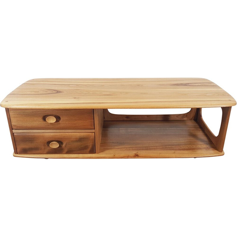 Vintage Minerva coffee table for Ercol in elmwood 1970s