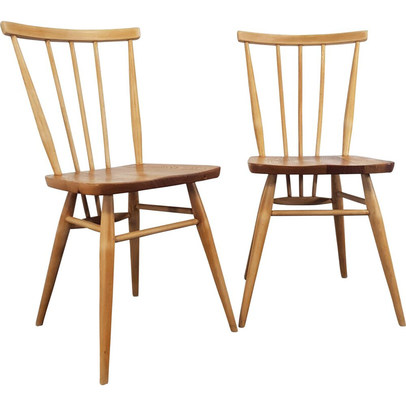 Set of 2 vintage Windsor chairs for Ercol in elm and beech 1960s