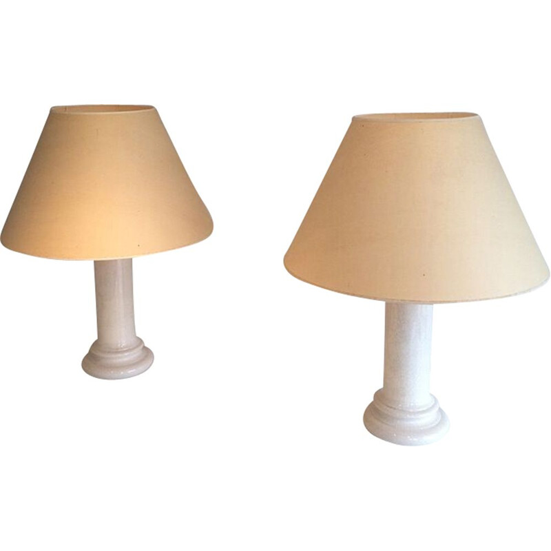 Pair of vintage french lamps in beige ceramic 1970