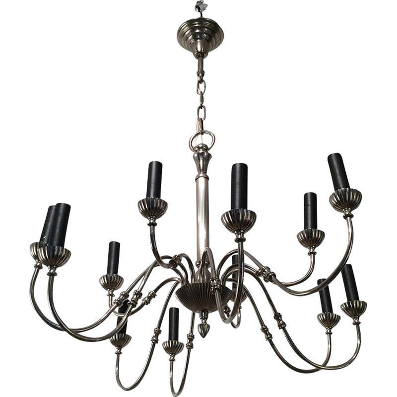 French vintage chandelier in silver metal 1940