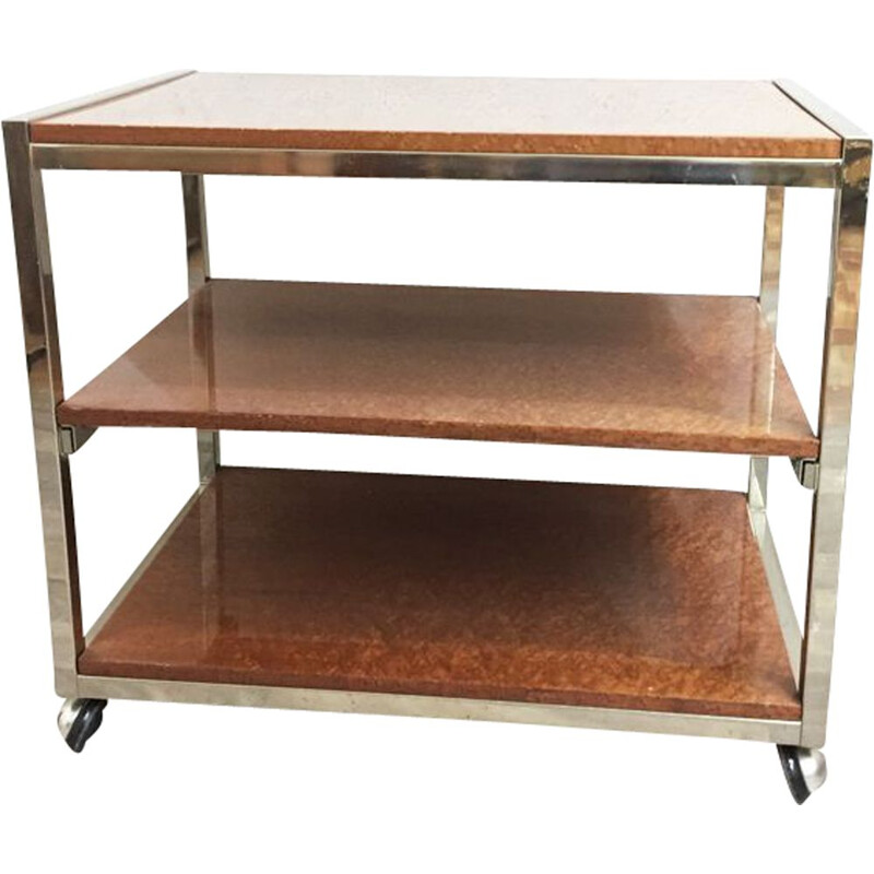 Vintage rolling table in chrome metal and elm 1970