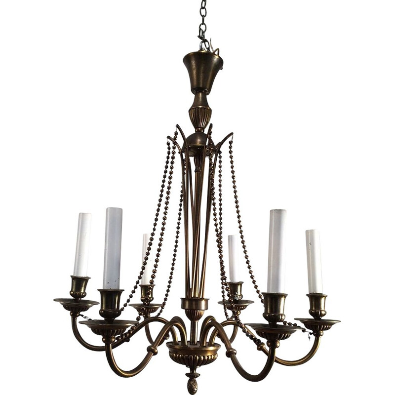 French vintage chandelier in bronze and brass 1940