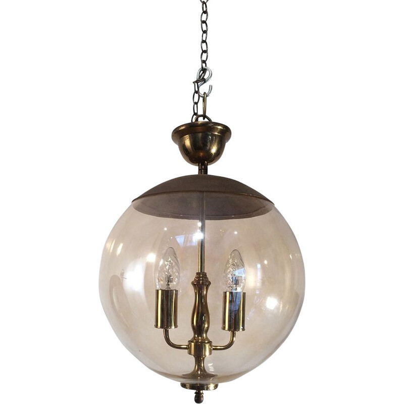 Vintage pendant light in smoked glass and brass,1970
