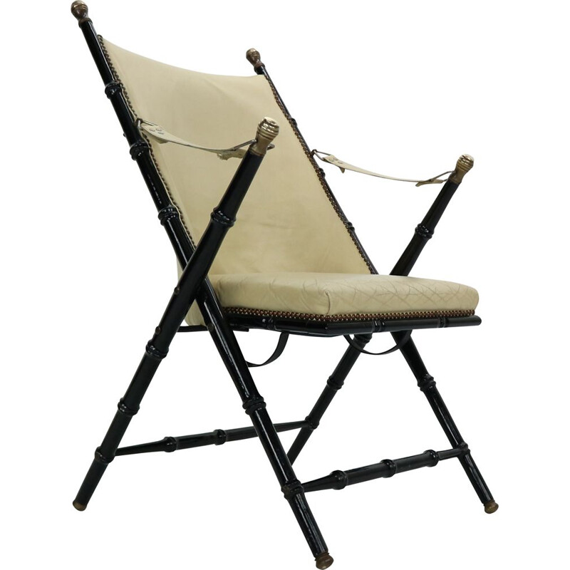 Vintage folding leather long chair by Valenti, 1970