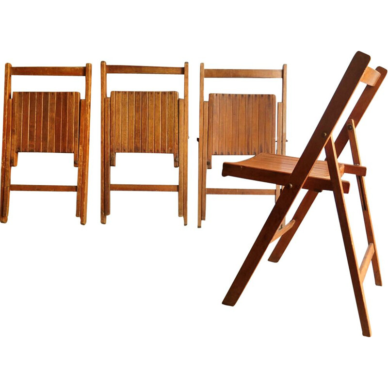 6 foldable vintage wooden dining chairs, 1950