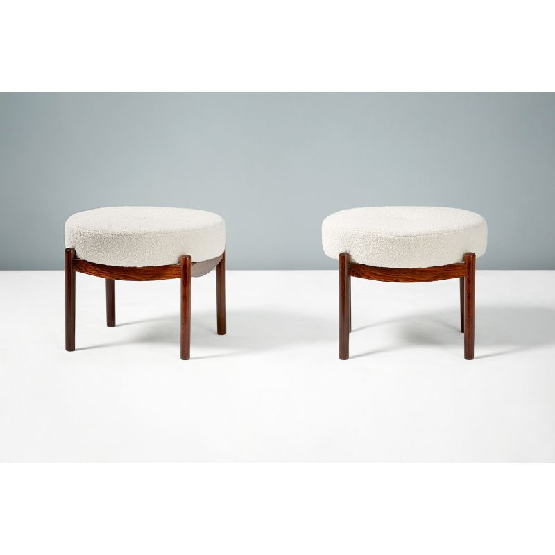 Magnificent Pair Of Vintage Round Danish Rosewood Ottomans Beatyapartments Chair Design Images Beatyapartmentscom
