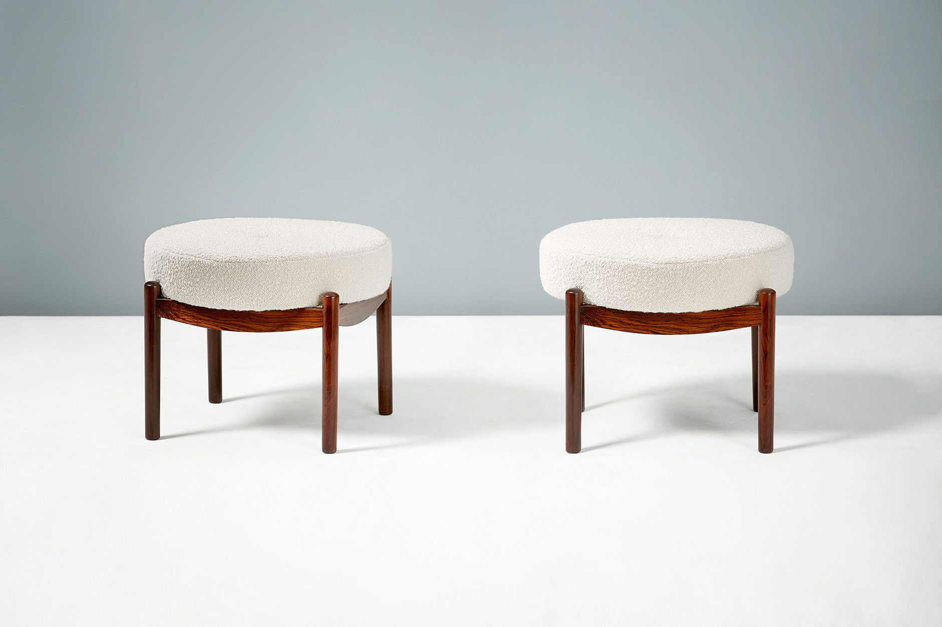 Outstanding Pair Of Vintage Round Danish Rosewood Ottomans Beatyapartments Chair Design Images Beatyapartmentscom