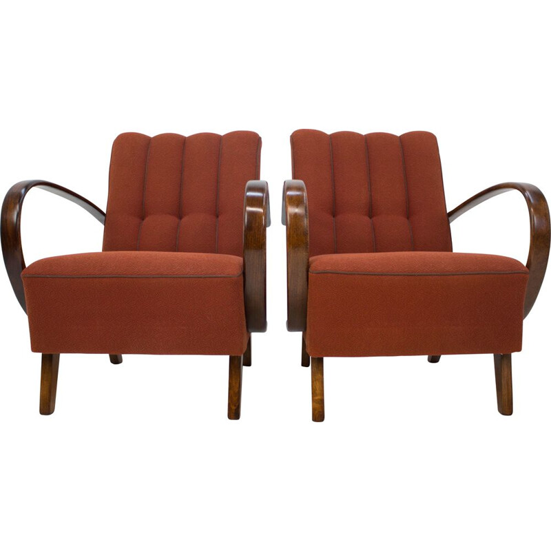 Set of 2 vintage armchairs by Jindrich Halabala, 1940s