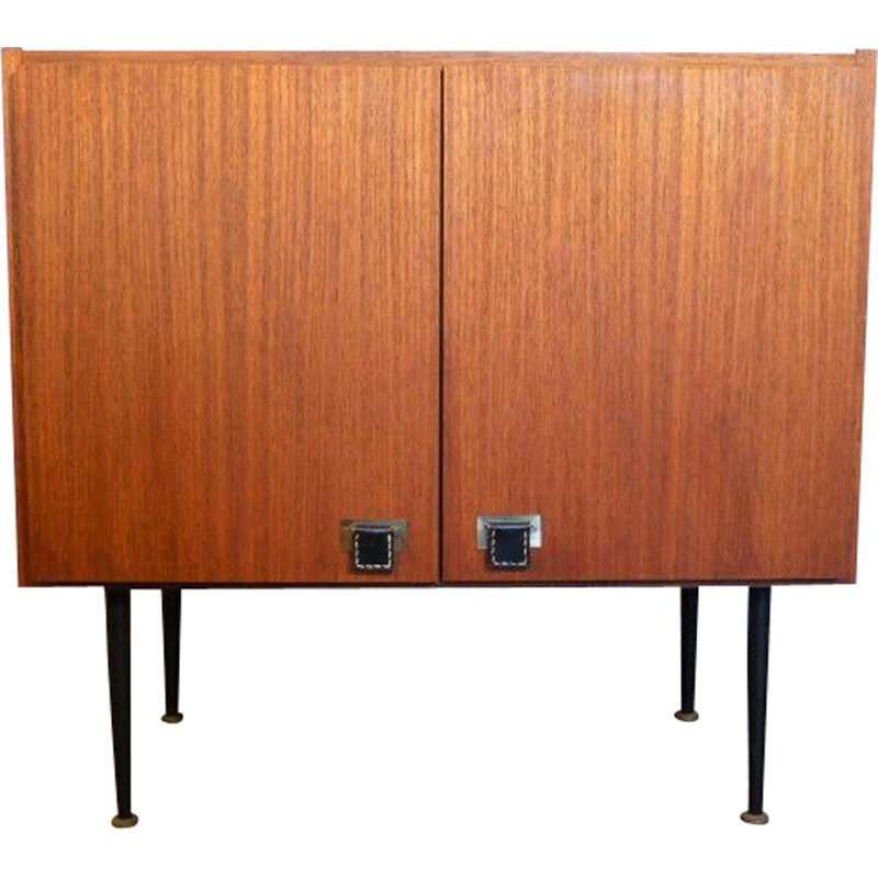 Small vintage cabinet in teak, brass and leather SAB 1960