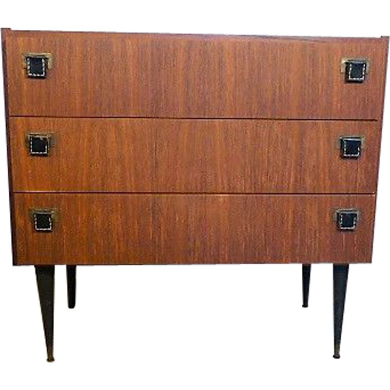 Vintage chest of drawers SAB in teak, brass and leather 1960s