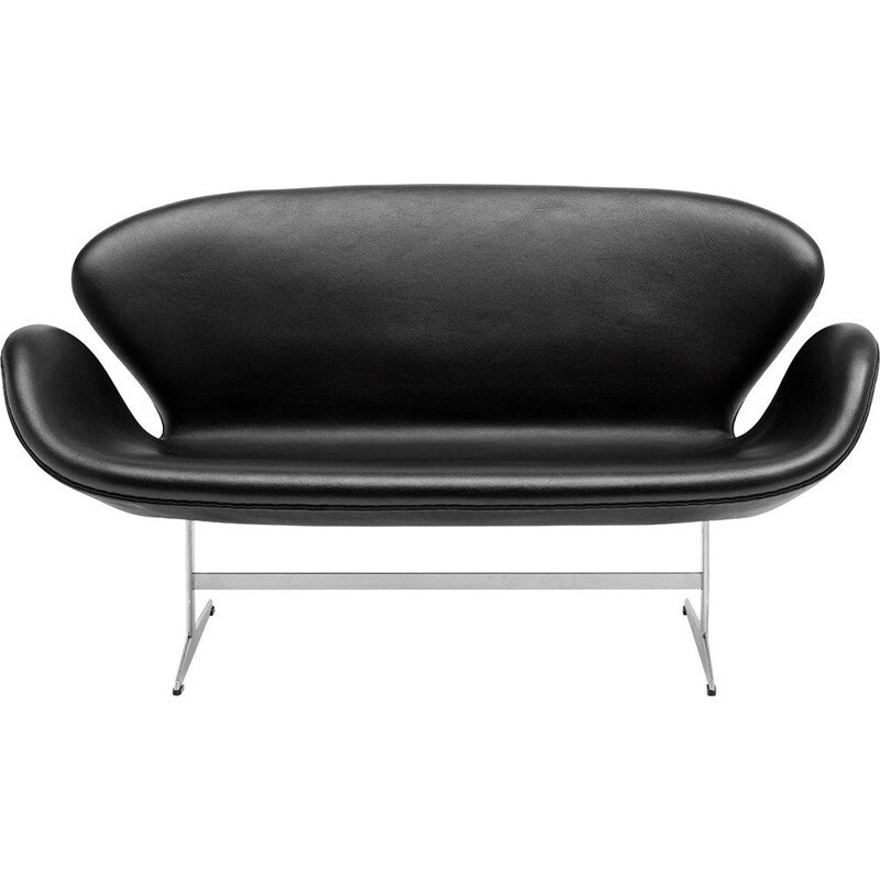 """Swan"" 2 seater sofa in leather by Arne Jacobsen for FRITZ HANSEN"