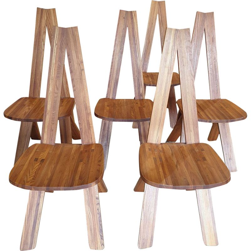 Set of 6 vintage dining chairs by Pierre Chapo,1970