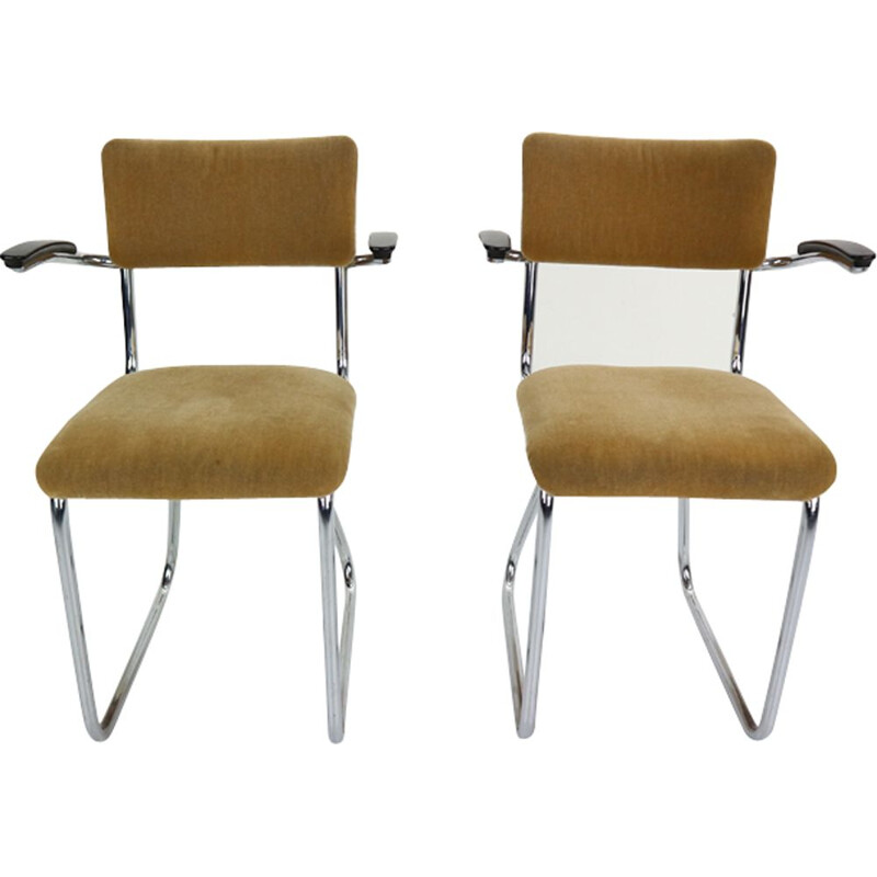 Set of 2 vintage armchairs in yellow fabric and metal 1960
