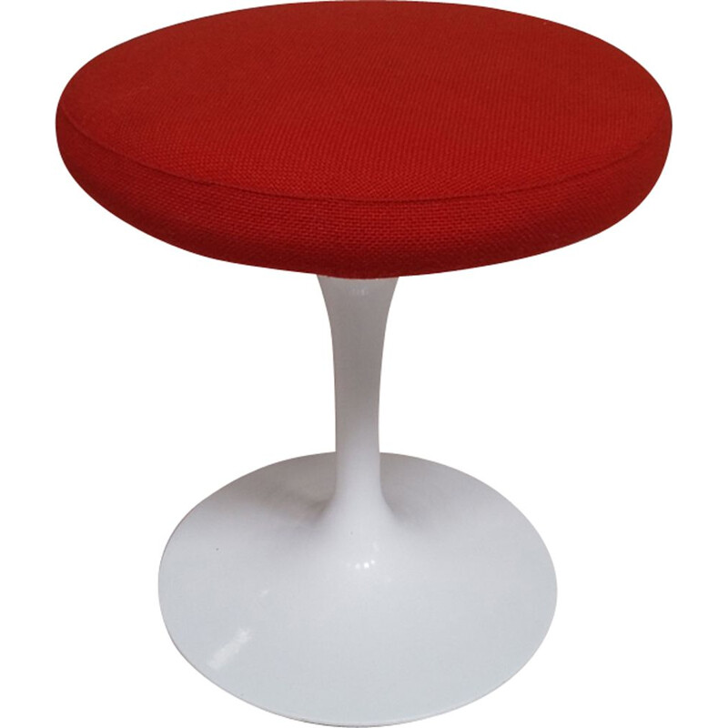 Tulip vintage table for Knoll Studio in white aluminum cast iron and orange red fabric