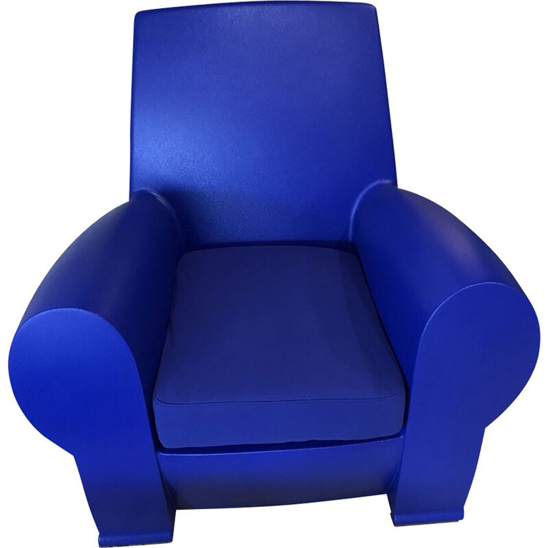 Vintage Richard III armchair by Starck in blue fabric and plastic