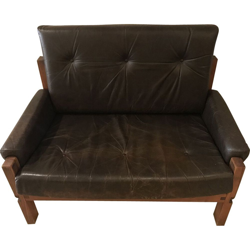 Vintage Love Seat S18Y armchair by Pierre Chapo in brown leather and elm 1970