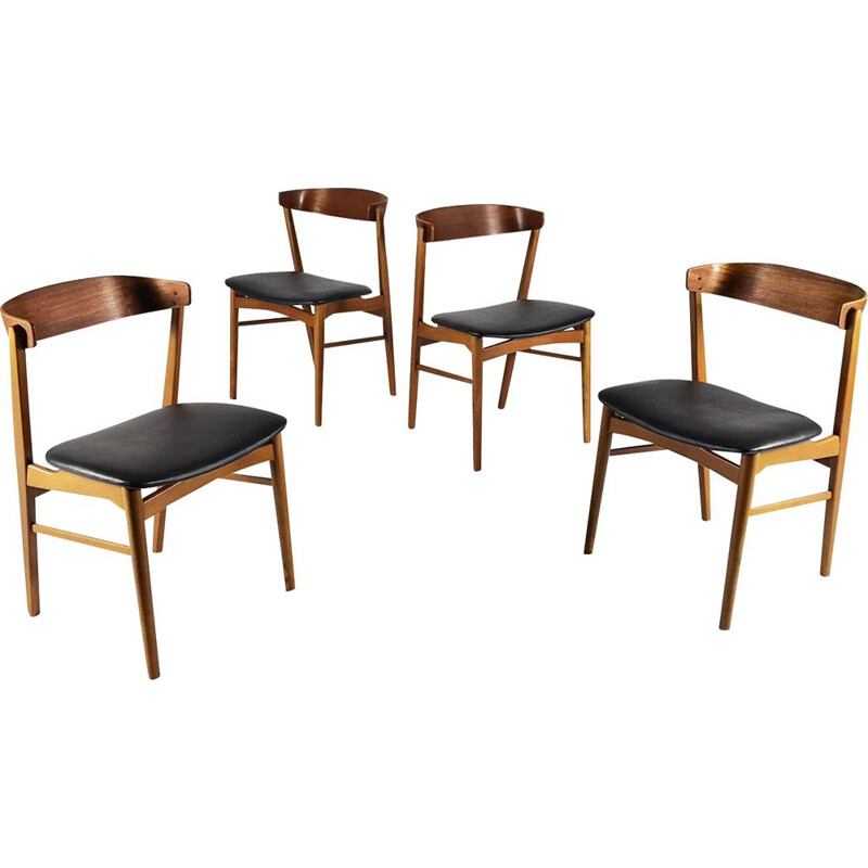 Set of 4 vintage 206 model chairs for Farstrup in teak and black leatherette 1960