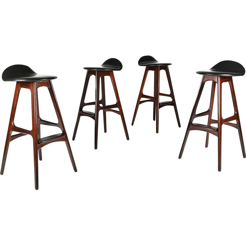 Suite of 4 vintage O.D 61 stools for Oddense Maskinsnedkeri A-S in rosewood and leather