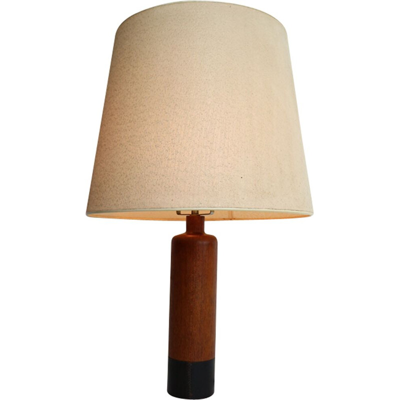 Vintage danish lamp for ESA in solid teak and black leather 1960