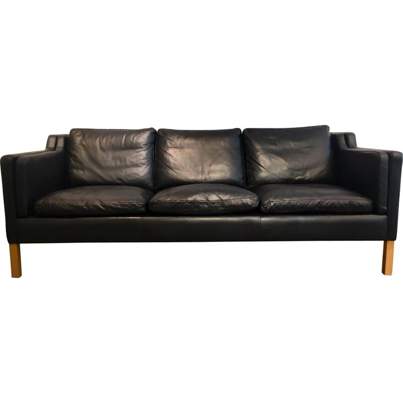 Vintage 3-seater sofa in black leater by Stouby,1960