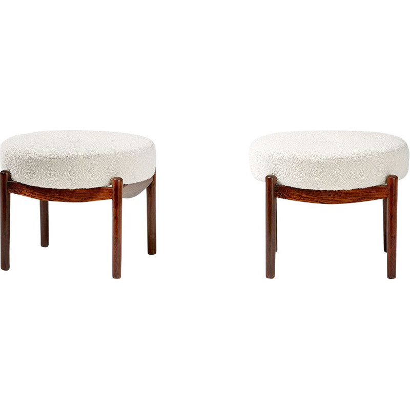 Pair of vintage Round Danish rosewood ottomans