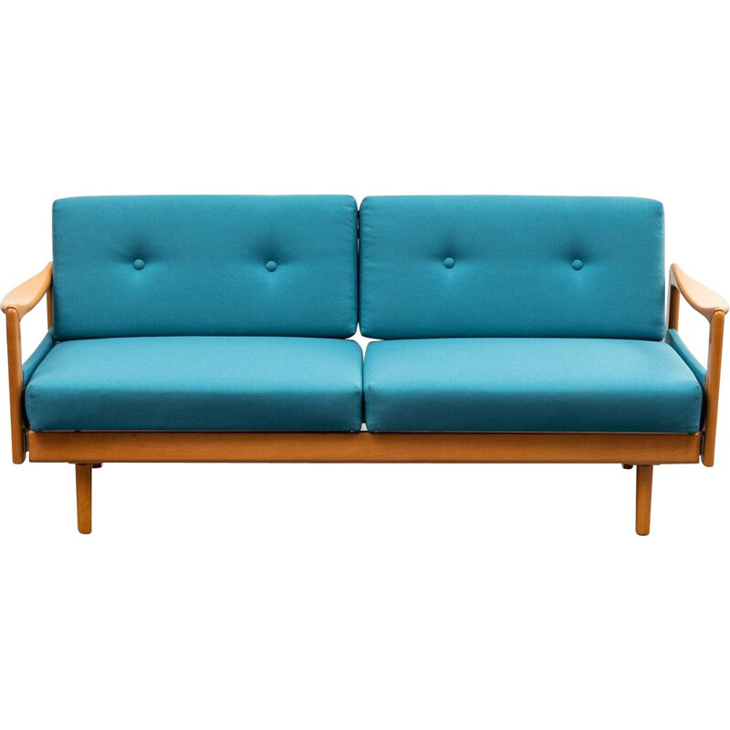 Vintage daybed sofa restored petrol blue