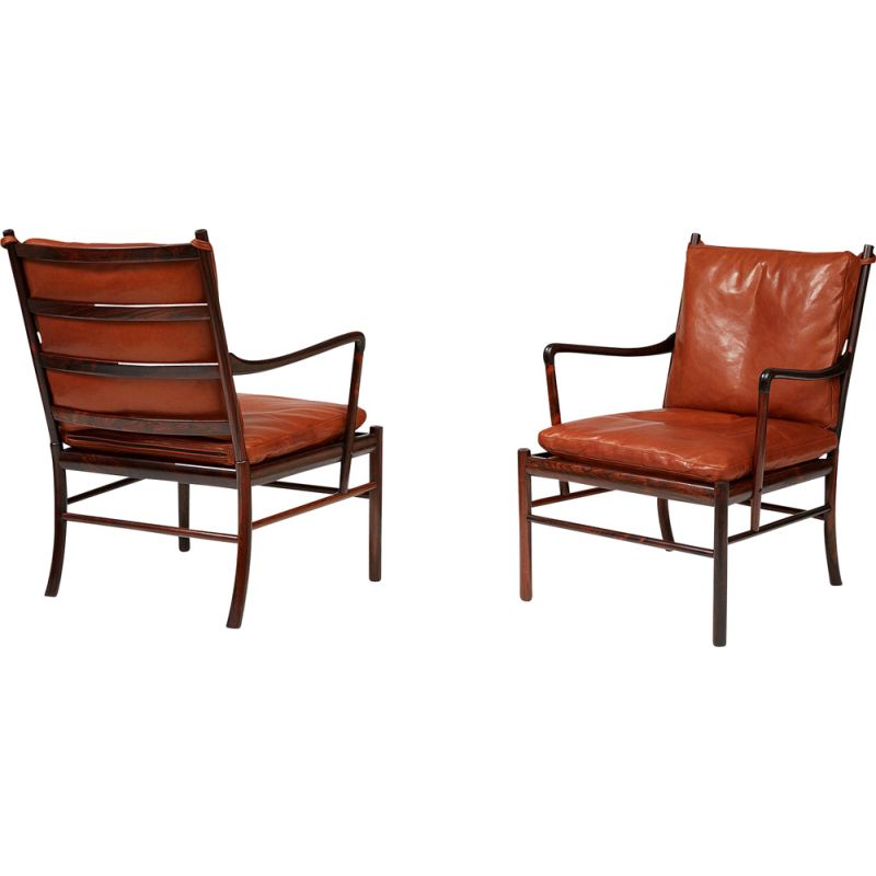 Pair of vintage Colonial chairs PJ-149 in rosewood by Ole Wanscher for Poul Jeppesen 1949
