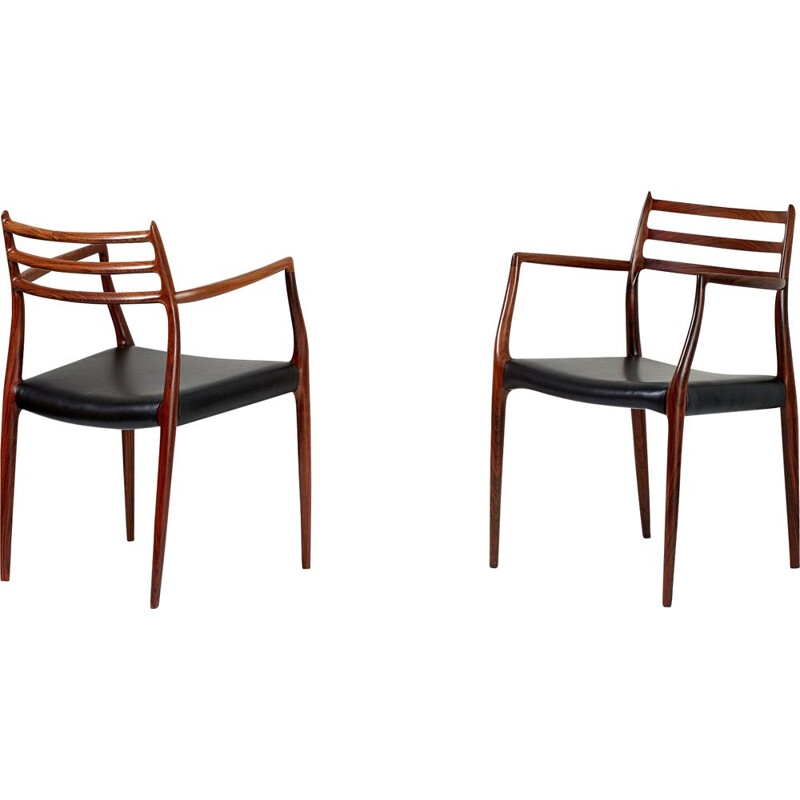 Pair of vintage armchairs Model 62 in rosewood by Niels Moller for J.L. Moller Mobelfabrik 1962