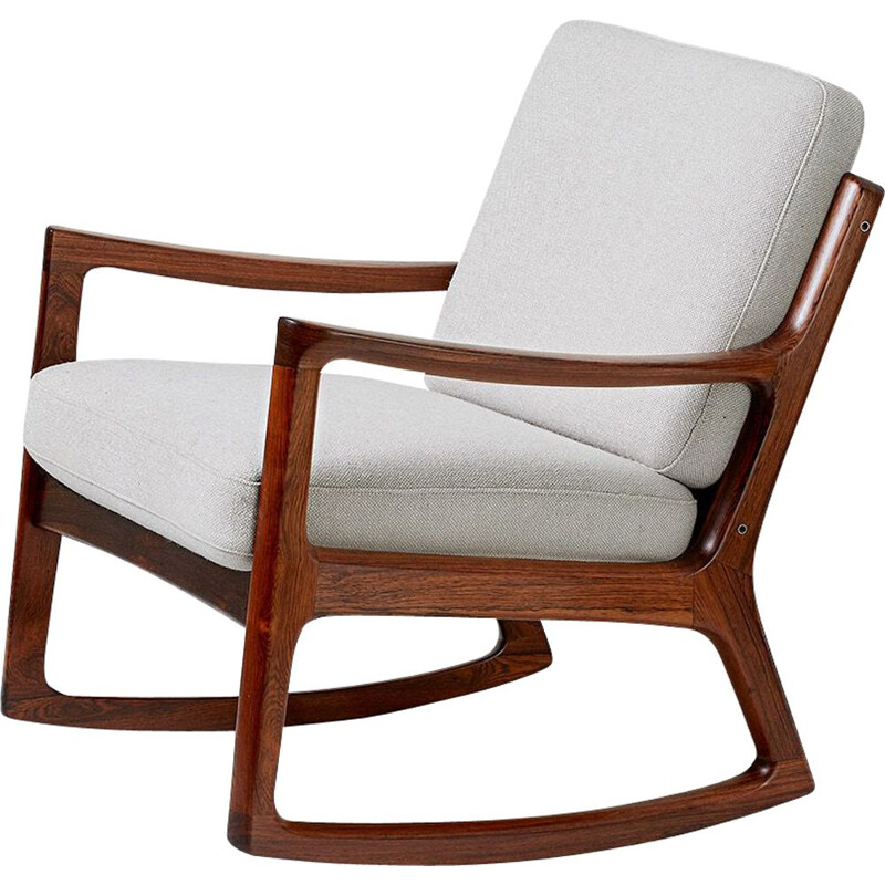 Vintage rocking chair Senator in rosewood by Ole Wanscher for France & Son 1960s