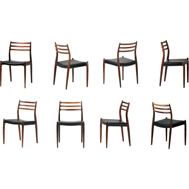 Set of 8 vintage dining chairs model 78 in rosewood Niels Moller for J.L. Moller Mobelfabrik 1962