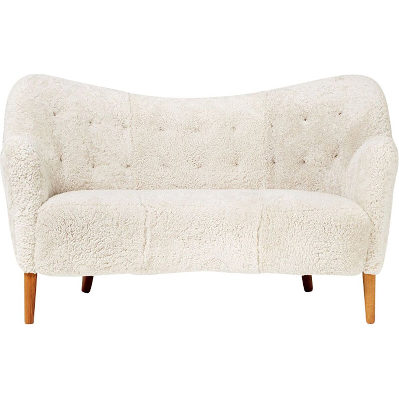 Vintage sofa oak and sheepskin Scandinavian 1952