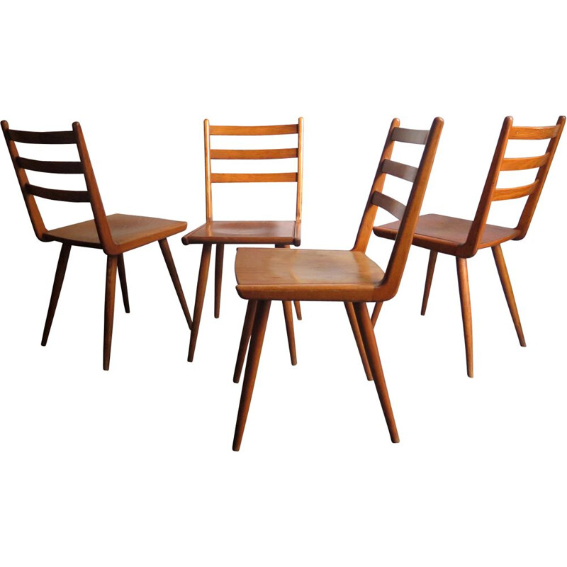 Vintage set of 4 dining chairs 1950