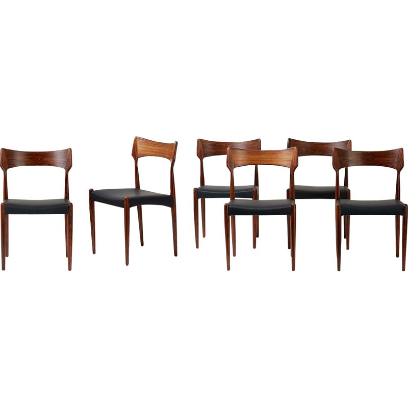 Set of 8 rosewood dining chairs by Bernard Petersen 1960