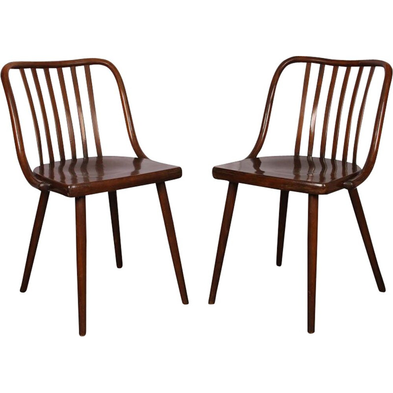 Pair of vintage chairs by Ton 1960
