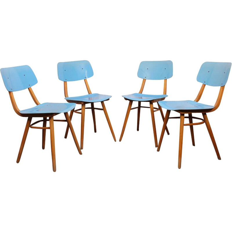 Set of 4 blue chairs for Ton 1970